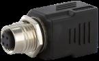M12 Bu. D-cod. / RJ45 Ethernet adapter 0° 4-pol.