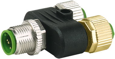 T COUPLER M12 MALE / M12 FEMALE 0°