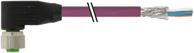 M12 female 90° with cable CANopen/DeviceNet